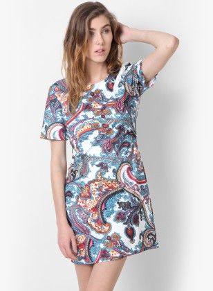Dressvilla White Printed Short Dress