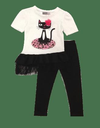 Cute Cat Print Top And Leggings Set- Ivory - Baby Ziggles