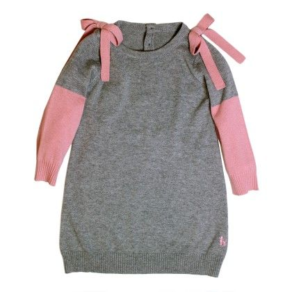 Dark Grey Pink Long Sleeve Ribbon Dress - Frenchie Mini Couture