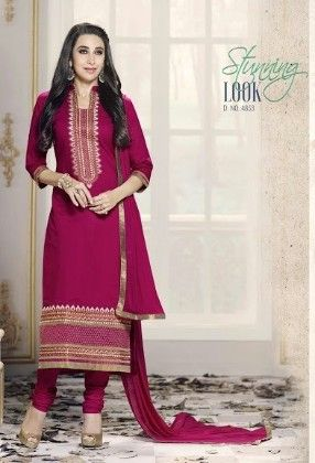 Maroon Cotton With Embriodery Dress Material - Fashion Fiesta