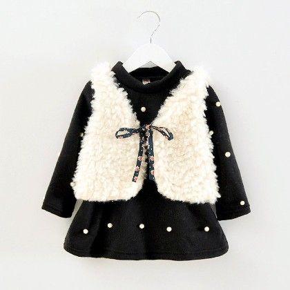 Cute Polka Dot Dress With Fur Jacket - Black - Mellow