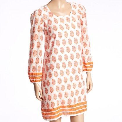 Orange And White Floral Stripe Shift Dress - Women - Yo Baby