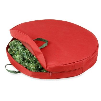 Holiday Wreath Storage Bag With Handles And Zipper 30-inch- Red - Honey Can Do