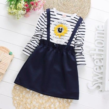 Cute Suspender Skirt Style Dress With Stripes - Blue - Maisie