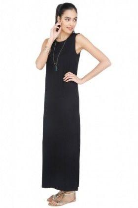 Womens Sleeveless Round Neck Dress - CottonWorld