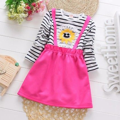 Cute Suspender Skirt Style Dress With Stripes - Pink - Maisie