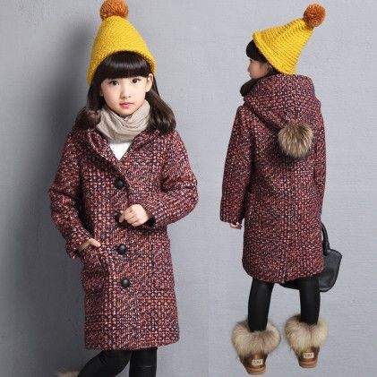 Woolen Winter Jackets For Girls Hooded Pockets W Long Sleeve Jacket - Aww Hunnie!!
