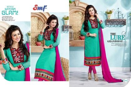 Green And Majenta Embroid Salwar Suit With Dupatta - SMF