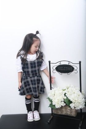 Cute Checked Dress With Ruffle Sleeves - Black - Mellow