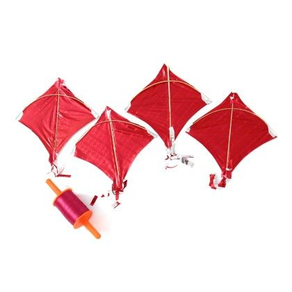 Set Of 4 Metallic Red Kites With Small Spool (firki) - Sugar Candy