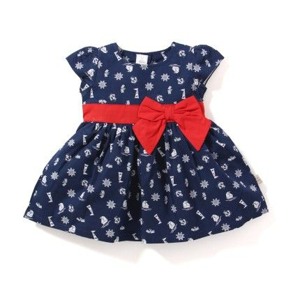 All Over Printed Girls Dress - Navy - TOFFYHOUSE