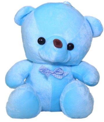 Bear With Checks Bow Blue - Angel Toys