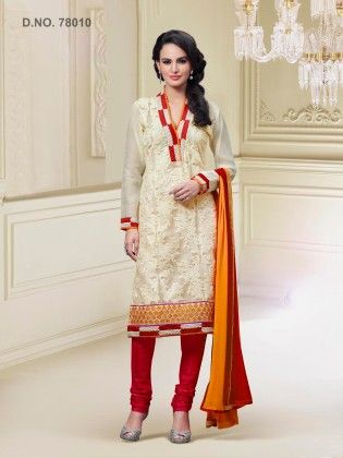 Cream Art Silk Dress Material - Touch Trends Ethnic