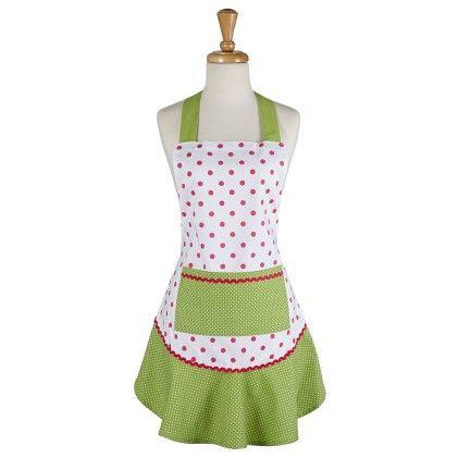 Pink & Green Polka Dot Ruffle Apron - Design Imports