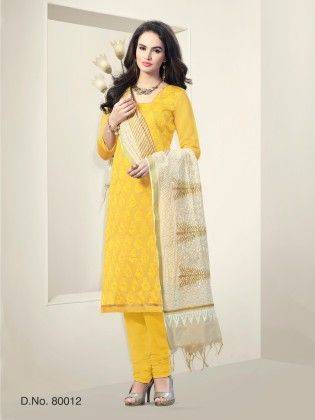 Chanderi Silk Dress Material Yellow - Touch Trends Ethnic