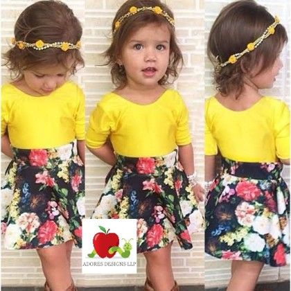 Yellow -top And Floral Clothing Set - Adores