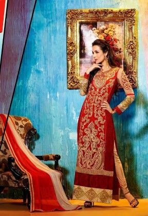 Full Embriodery Details Red Semi Stitched Suit - Fashion Fiesta