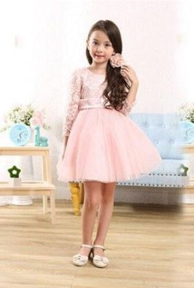 Full Sleeves Pink Dress With Bow - Tickles