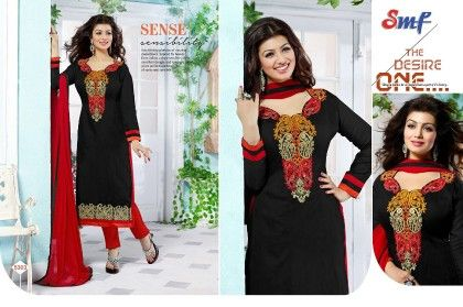 Black And Red Embroid Salwar Suit With Dupatta - SMF