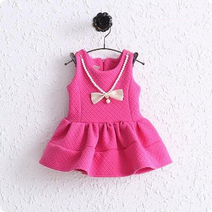 Cute Pink Flared Dress With Attached Bow Necklace - Mellow