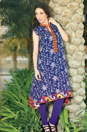 Embroidered Kurti Collection Blue - Mauve Collection - 226787