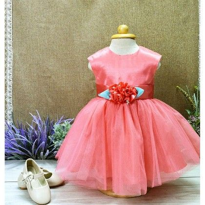 Peach With Rose And Bow Dress - Little Coogie