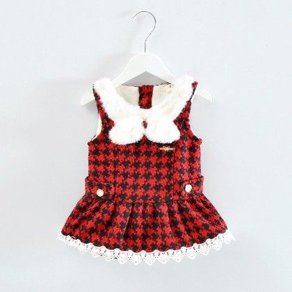 Beautiful Sleeveless Dress With Bow - Red - Mellow