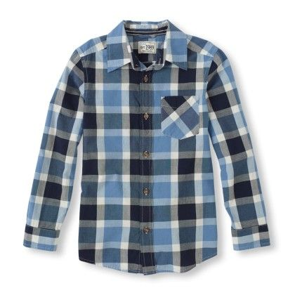 Long Sleeve Flannel Print Button-down Shirt - The Children's Place