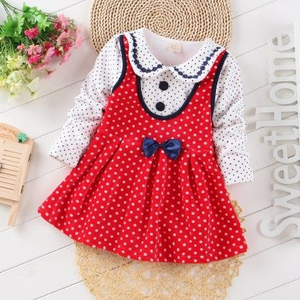 Red Polka Dot Dress With Peter Pan Collar - Maisie