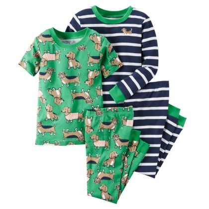 S16 -boy 4 Pc Green Ao Dog W Ht Grey Green - Carter's