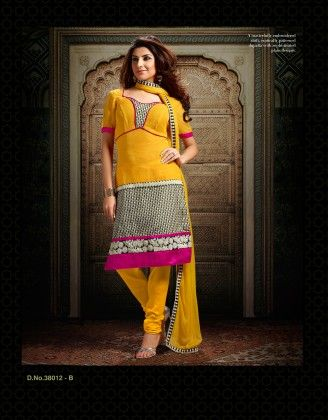 Chanderi Silk  Yellow Dress Material - Touch Trends Ethnic