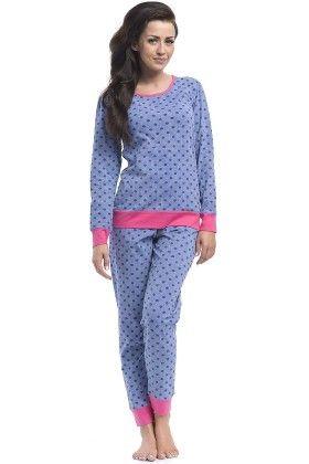 Polka Dotted Pyjama Set-blue - Dobranocka