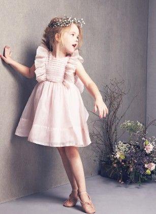 Cute Ruffle Sleeves Patterned Frock - Peach - Little Dress Up