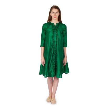 Frill Detail Button Down Dress - Bhava