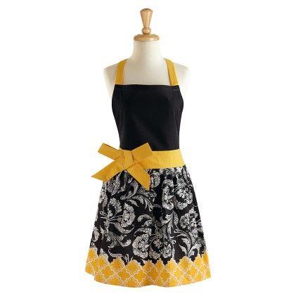 Black & Yellow Riviera Print Floral Retro Apron - Design Imports