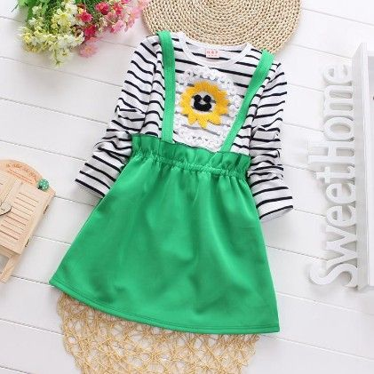 Cute Suspender Skirt Style Dress With Stripes - Green - Maisie