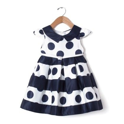 White Party Frock With Polka Dot & Belt Dress - Party Princess