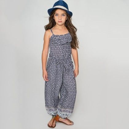 Navy And White Geometric Jumpsuit - Toddler And Girls - Yo Baby