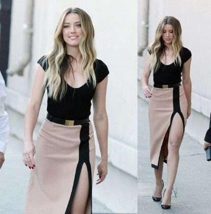 Black And Beige Slit Dress - Oomph