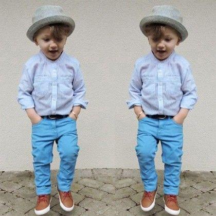 Light Blue Shirt And Blue Pant Set - Lil Mantra