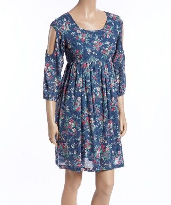 Blue Floral Pleated Cutout Dress And Headband - Women - Yo Baby