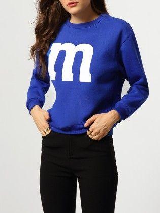 Blue Round Neck M Print Loose Sweatshirt - She In
