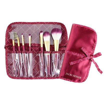 Vintage Allure 7 Pc Make Up Brush Set And Bag Red - Jacki Design