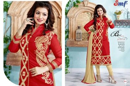 Red Embroid Salwar Suit With Dupatta - SMF