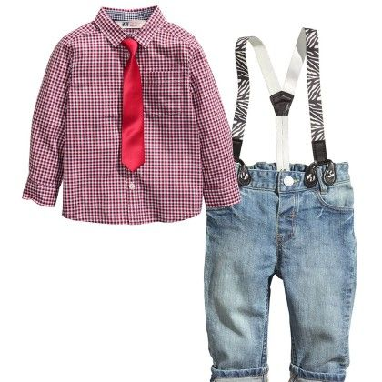 Checkered Shirt With Tie And Denim With Suspenders - Lil Mantra
