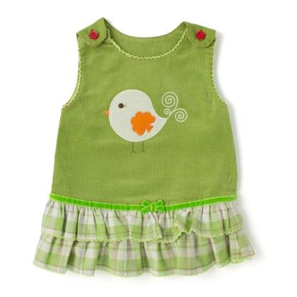 Wonderkids Bird Print Baby Frock - Green - Wonder Kids