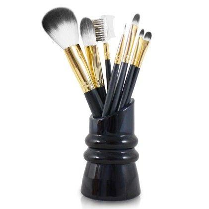 Royal Blossom 7pc Make Up Brush & Holder Set Black - Jacki Design