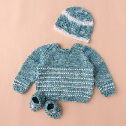 Sea Blue And White Sweater Set - Knitting Nani