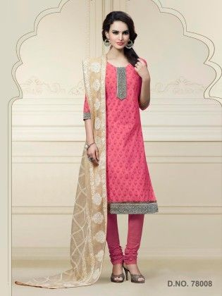 Chanderi Silk Dress Material - Pink - Touch Trends Ethnic