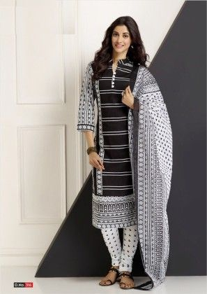 Cotton Printed Black And White Dress Material - Fashion Fiesta